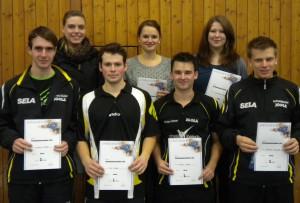 v.l.n.r.: Lukas Müller; Isabella Trompeter; Kai Fefel; Anja Henne; Florian Henne; Christina Bitz; Andreas Maucher